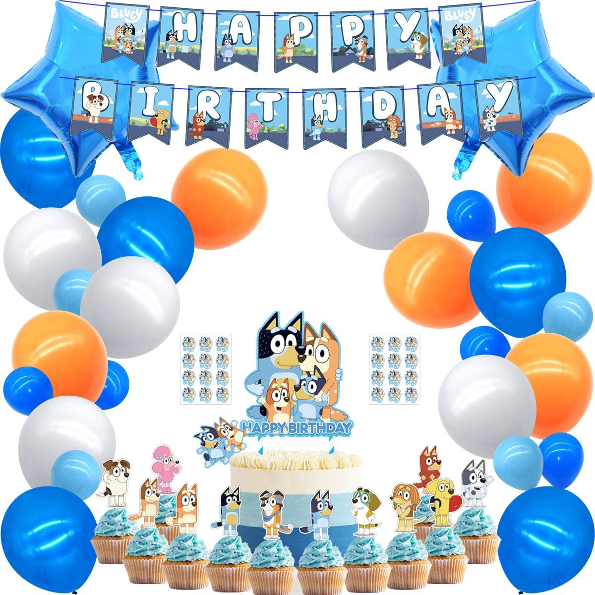 Party supplies for Bluey Theme Party Decorations Cake topper Banner Balloons Stickers Cupcaker Toppers,for Girls Boys Party Supplies