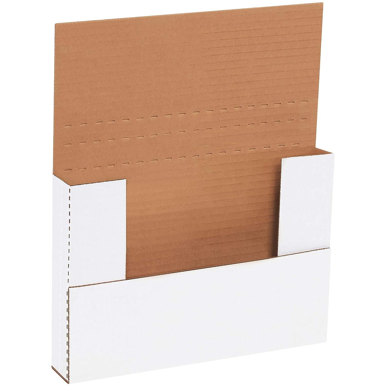 9-5//8 Length x 6-5//8 Width x 1-1//4 Height Bundle of 50 White Aviditi M961 Corrugated Easy-Fold Mailer