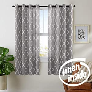 "jinchan Quatrefoil Linen Curtains Flax Linen Blend Curtain Textured Lattice Moroccan Tile Print Kitchen Window Treatment Set for Living Room Geometry 50"" x 63"" inch Charcoal Grey Set of 2 Panels"