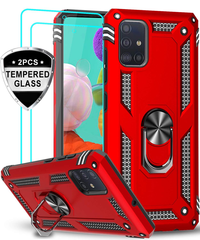 Funda Roja Con Soporte Y 2 Vidrios Templados Samsung A51
