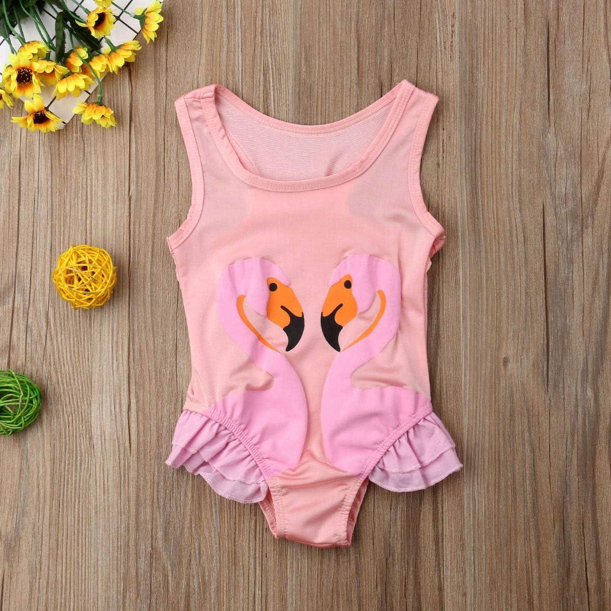 ONES Toddler Kid Baby Girls Sleeveless Flamingo Piece Bikini Beach Swimwear