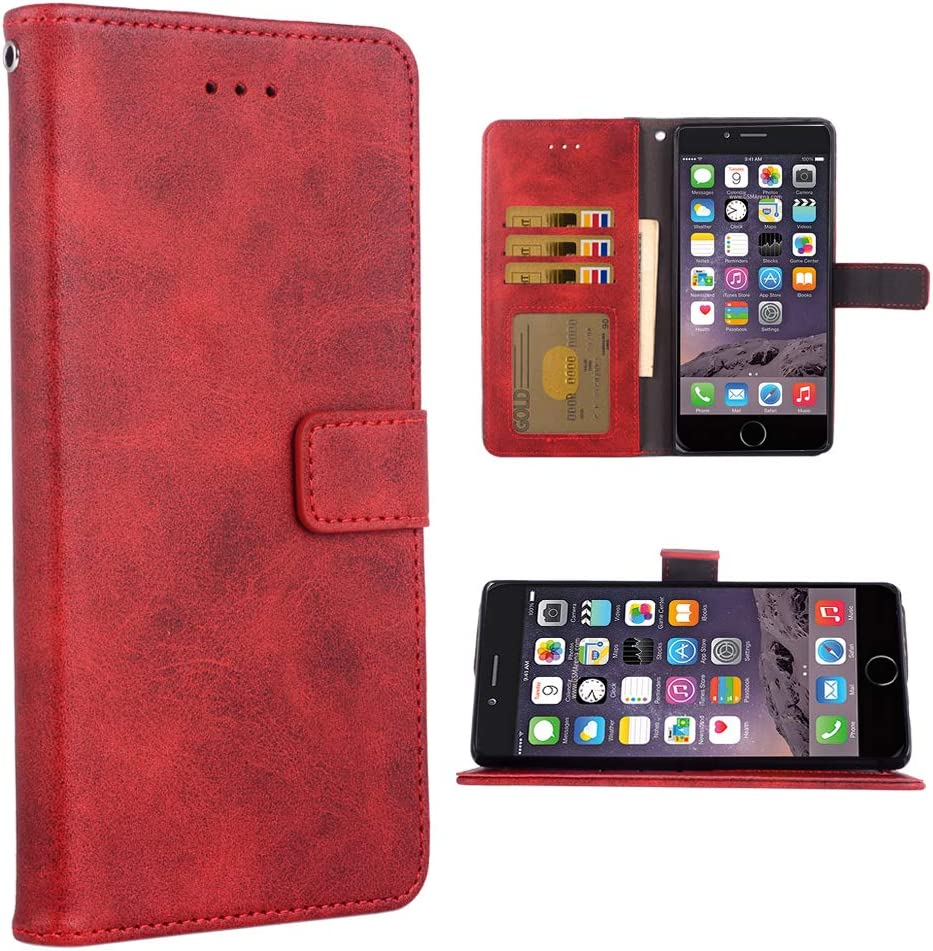Phone Case for iPhone 6 / 6s Folio Flip Wallet Case,PU Leather Credit Card Holder Slots Full Body Protection Kickstand Protective Phone Cover for IPhone6 IPhone6s Six i6 S i Phone6s Phone6 6a Red