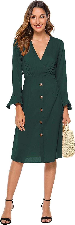 FUHUANDA Women's Long Sleeves Midi Dresses V Neck Casual Swing Pencil Dress