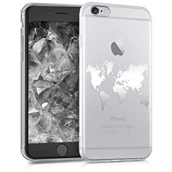 kwmobile Funda para Apple iPhone 6 / 6S - Carcasa Protectora de [TPU] con diseño de Mapa del Mundo en [Plata Transparente]