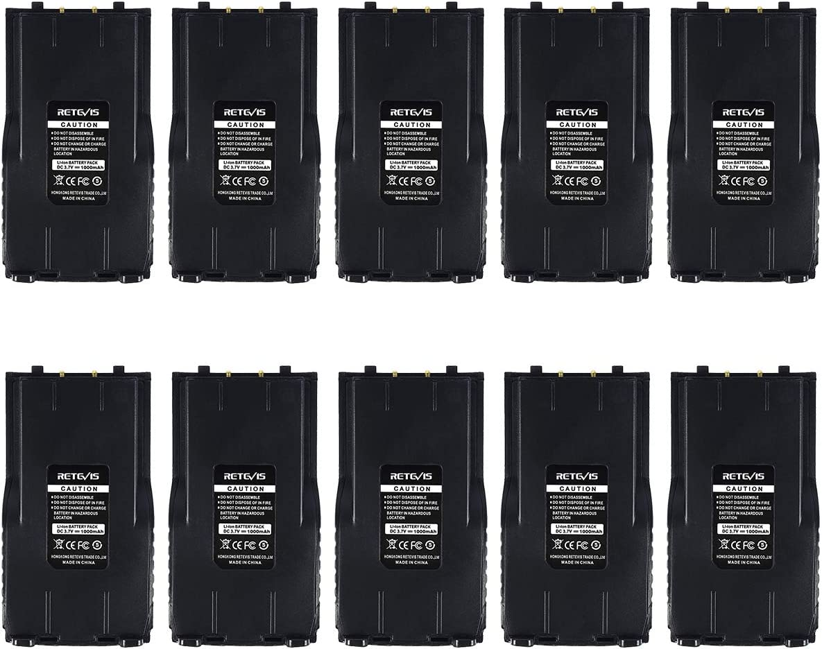 10 Pack Retevis RT7 Two Way Radio Battery Rechargeable Battery 3.7V 1000mAh for Retevis RT7 Walkie Talkies