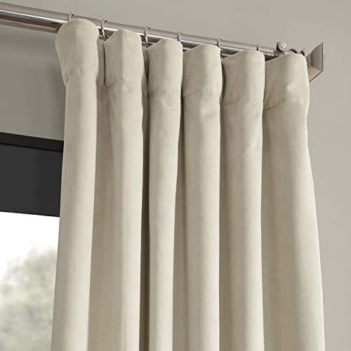 HPD Half Price Drapes VPCH-160405-120 Signature Blackout Velvet Curtain 1 Panel , 50 X 120, Cool Beige