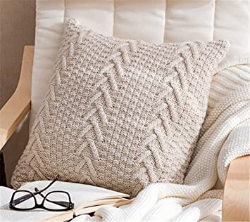 Pleasant Decorative Cotton Knitted Pillow Case Cushion Cover Double Cable Warm Throw Pillow Covers For Bed Couch 18 X 18 Cover Only Beige Unemploymentrelief Wooden Chair Designs For Living Room Unemploymentrelieforg