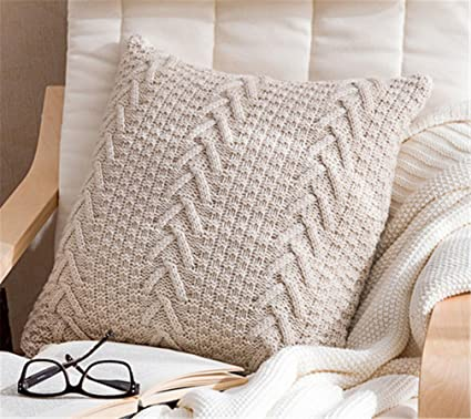 Amazon Decorative Cotton Knitted Pillow Case Cushion Cover Extraordinary How To Knit Pillow Covers