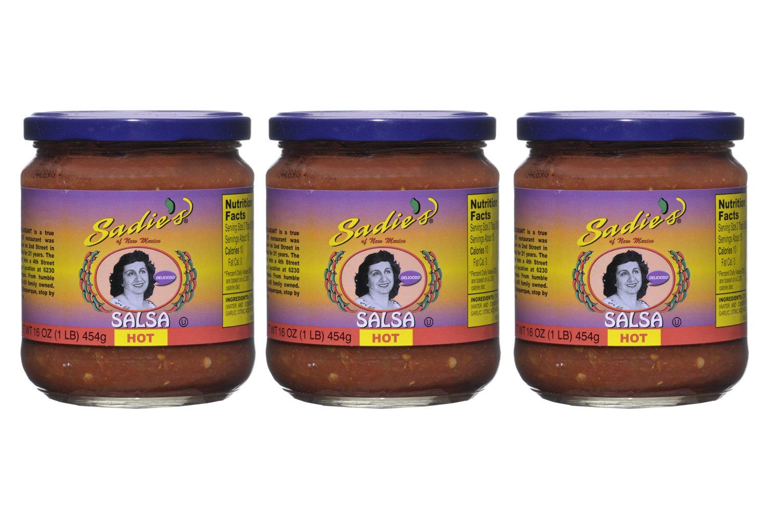 Sadie's of New Mexico Salsa, Hot 16 Oz (Pack of 3)