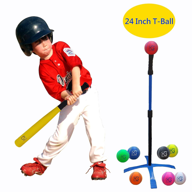 Macro Giant 24インチ安全Tボール ティーボール Tボール フォームバット 野球セット 子供用 イエローバット×1 野球ボール×8 アソートカラー トレーニング練習 ユースバッティングトレーナー 学校遊び場 子供用おもちゃ B07J4P8YNJ