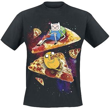 Adventure Time Finn Jake Pizza T Shirt Schwarz Xl Amazon De
