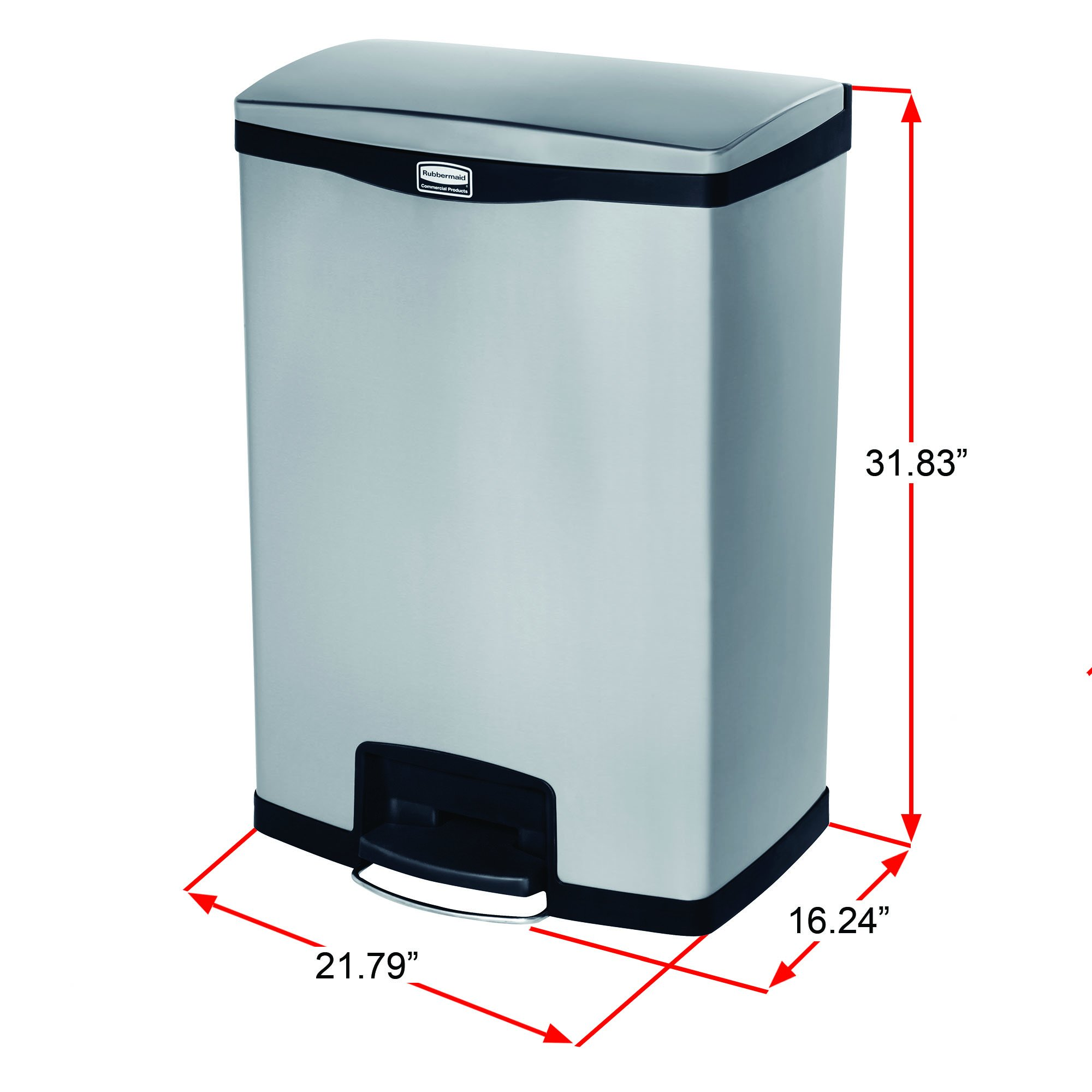 Rubbermaid Commercial Slim Jim Stainless Steel Front Step-On Wastebasket, 24-gallon, Red (1901988) by Rubbermaid Commercial Products (Image #4)