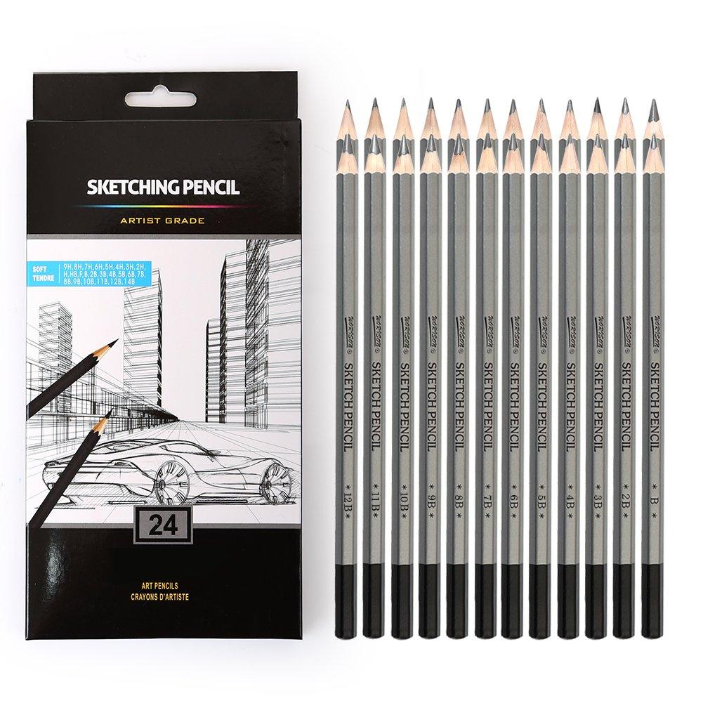 24 Drawing Pencils Set, Art Sketching Pencils 14B, 12B, 10B, 9B, 8B, 7B, 6B, 5B, 4B, 3B, 2B, B, HB, F, H - 9H, Graphite Pencils for Adults & Kid Artists