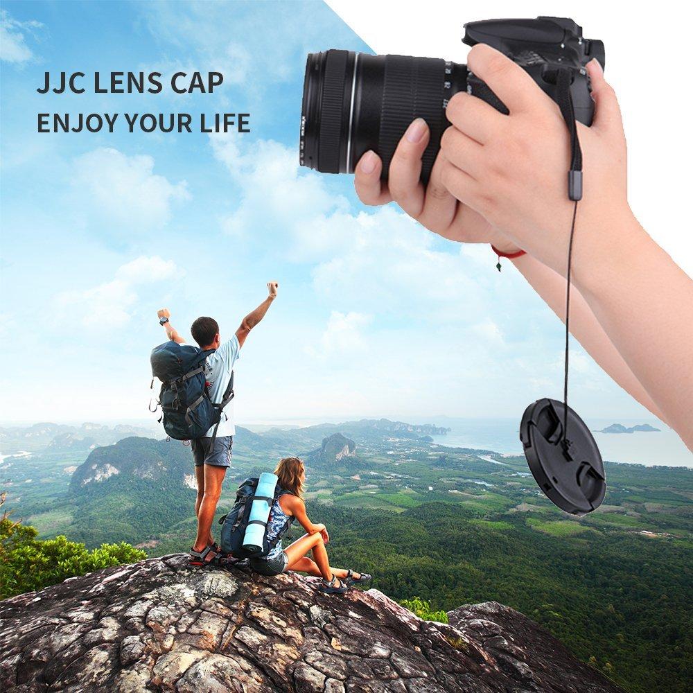 77mm Center Snap-on Lens Cap JJC Camera Front Lens Cover for Canon Nikon Fuji Fujifilm Sony Olympus Panasonic Replaces Original Cap with Lens Cap Keepe 2 Pieces