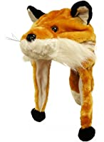 Choose From Over 25 Animals! - Plush Faux Fur Animal Critter Hat Cap - Soft Warm Winter Headwear - Short with Ear Poms and Flaps & Long with Scarf and Mittens Available