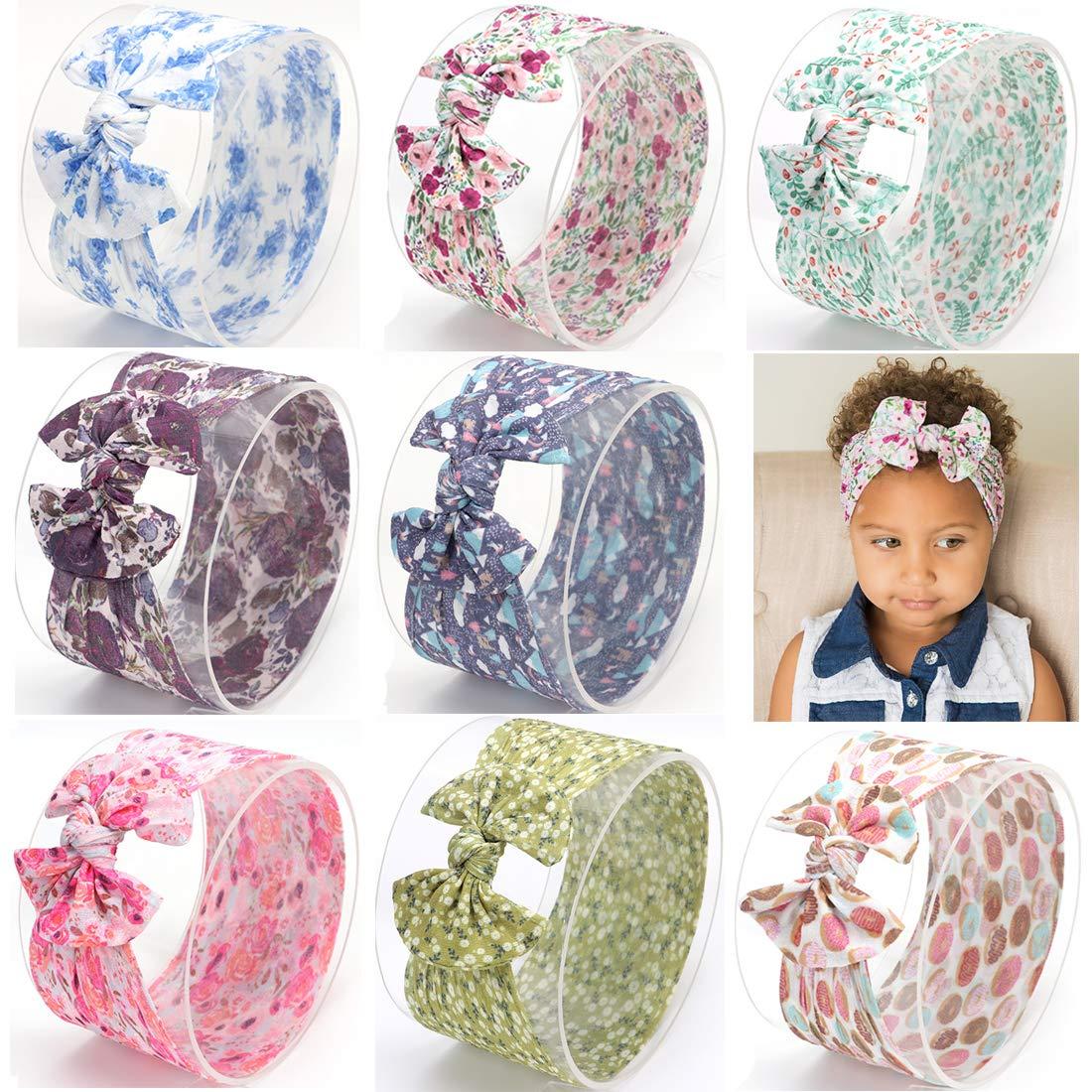 Simoda Baby Nylon headbands Turban Knotted Girls Hairband Super Soft and Stretchy Pack of 9#15