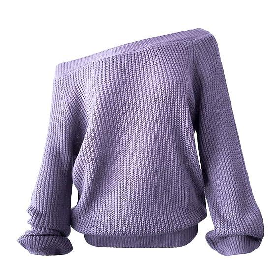 ZHRUI Mujeres Fuera del Hombro suéter de Punto Manga Larga ...
