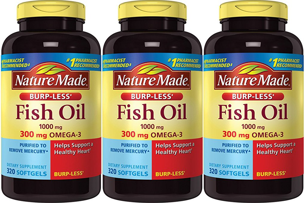 Nature Made Burp-less Fish Oil, 1000 Mg, 300 mg Omega-3, 3 Pack (320 Liquid Softgels Each) Et5hy Nature-Sw