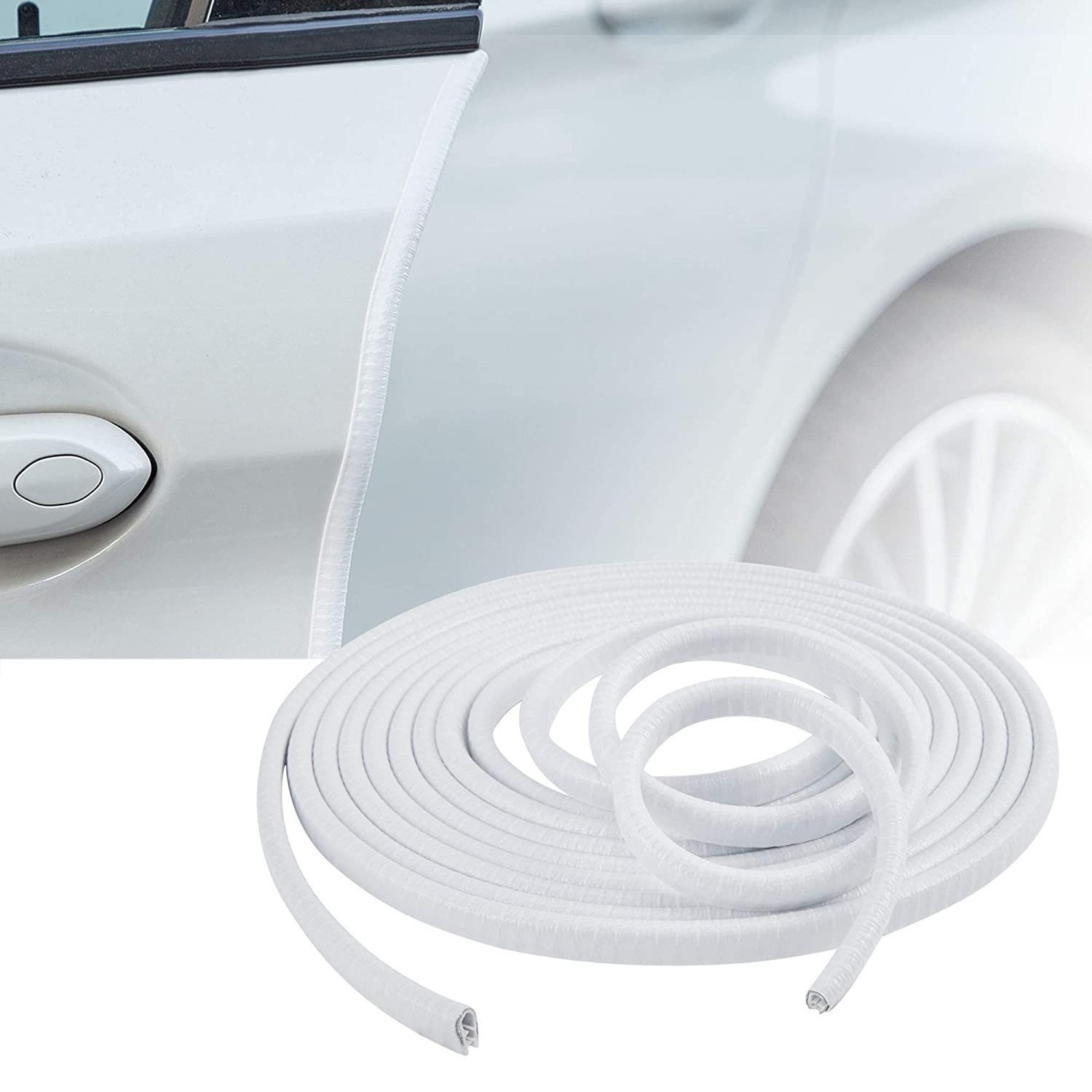 Flexible Anti-Collision No-Sticker Protected Lining Moulding Strips White 16ft TOMALL Car Door Guards U Shape Rubber Seal Protector 5M