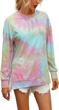 LAISHEN Womens Casual Tie Dye//Leopard Print Sweatshirts Crewneck Long Sleeve Loose Pullover Tops Tunic