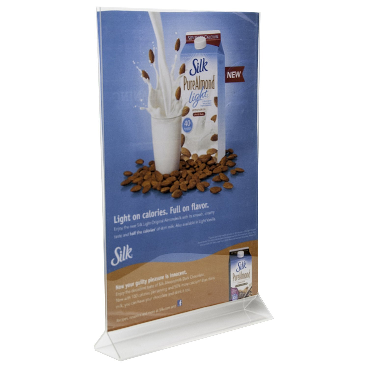 Clear-Ad - LHB-1117 - Double Sided Acrylic Upright Sign Holder 11x17 - Table Menu Card Display Stand - Plastic Picture Frame (Pack of 3)