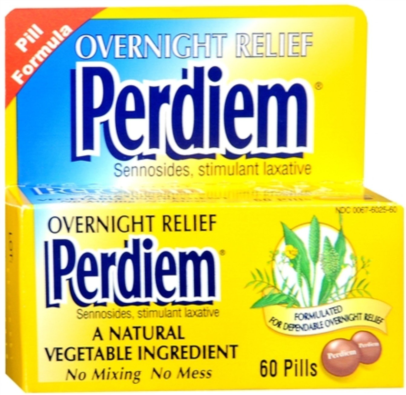 Perdiem Pills Overnight Relief 60 Each (Pack of 12)