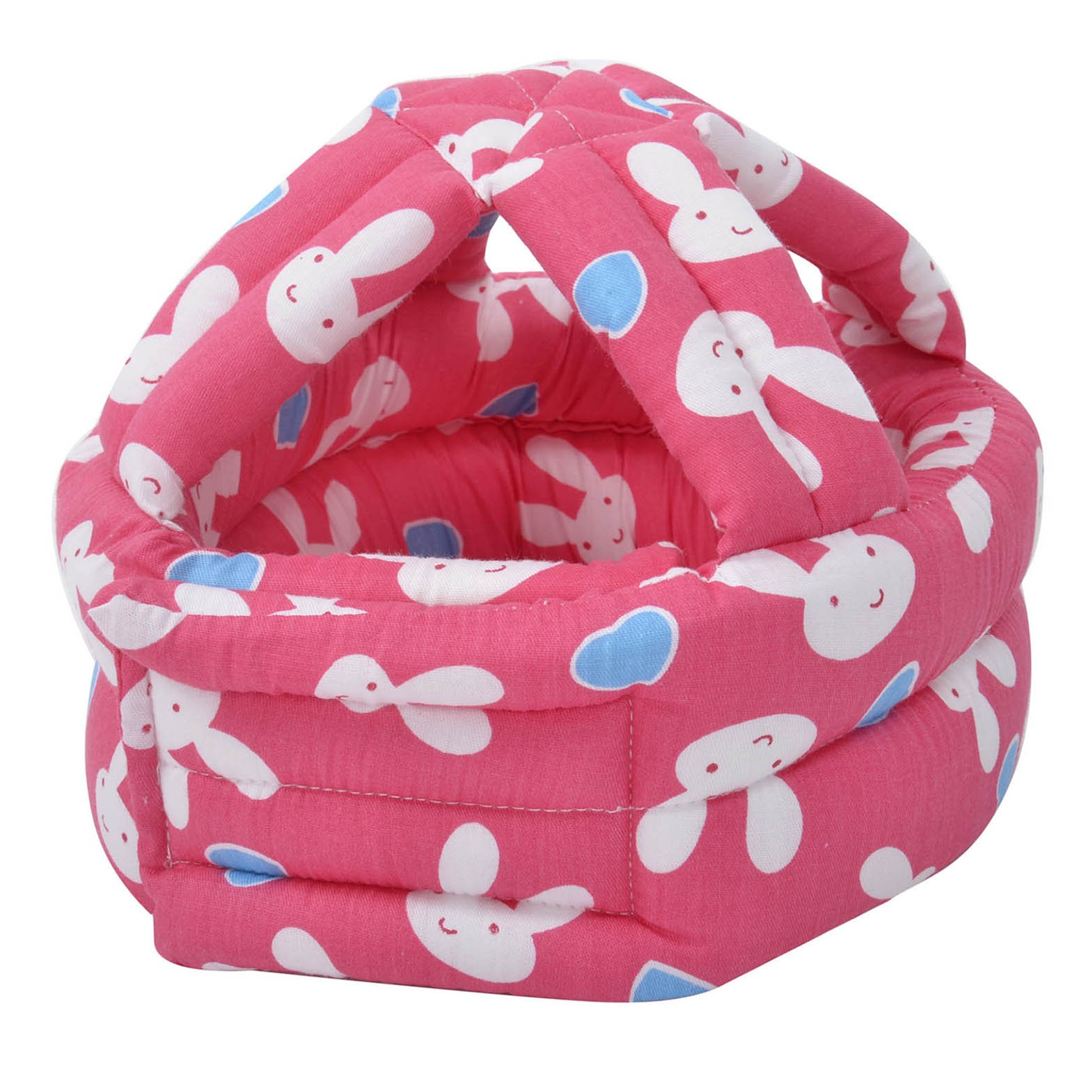 Baby Safety Helmet Adjustable Printed Head Guard Head Protector,Hot Pink Rabbit