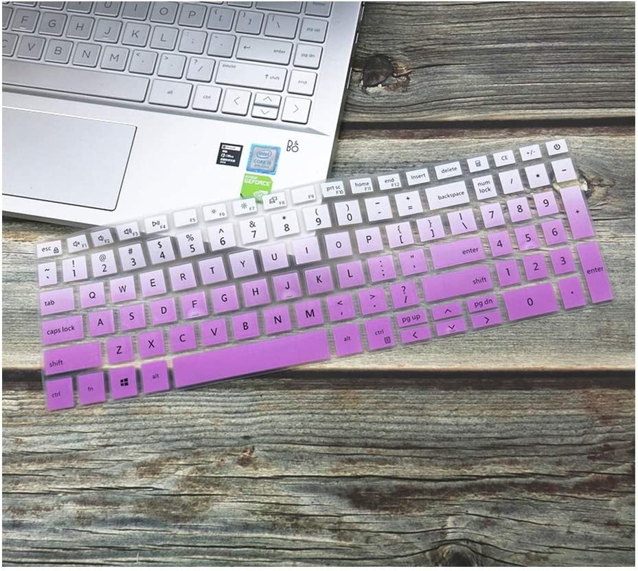 "Silicone Laptop Keyboard Cover Skin Protector Compatible for Dell Inspiron 15.6"" Laptop 5584 7590 7591 I5584 I7590 I7591 15.6 Inch,fadepurple"