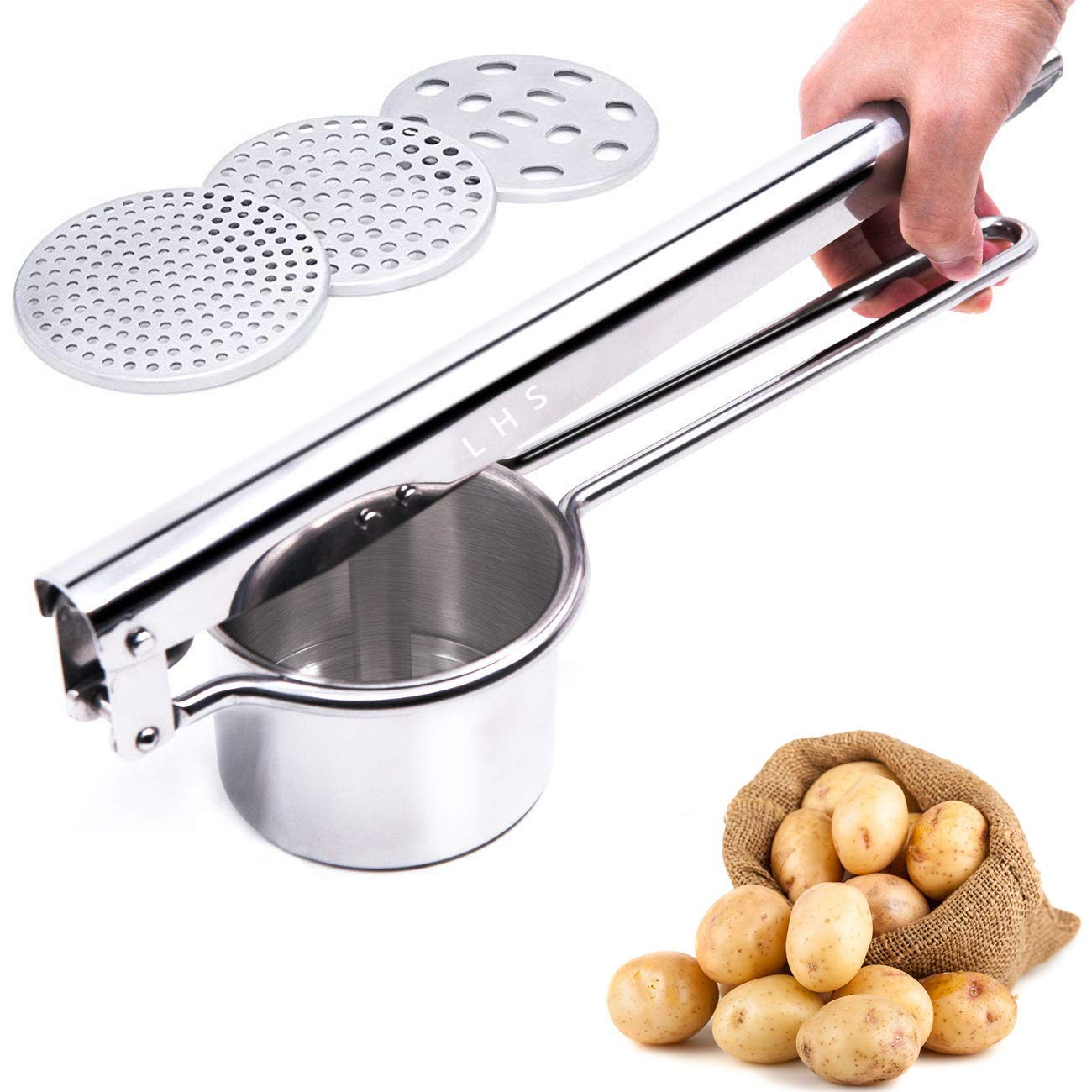 Stainless Steel Potato Ricer Masher with Good Grip Handle and 3 Interchangeable Discs for Fine Medium and Coarse Easy To Usefor Potatoes Fruits Vegetables Baby Food and More