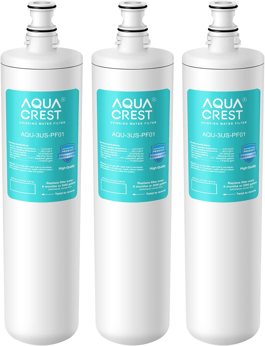 AQUA CREST 3US-PF01 Under Sink Water Filter, Replacement for Filtrete Advanced 3US-PF01, 3US-MAX-F01H, 3US-PF01H, Delta RP78702, Manitowoc K-00337, K-00338 Water Filter, Pack of 3