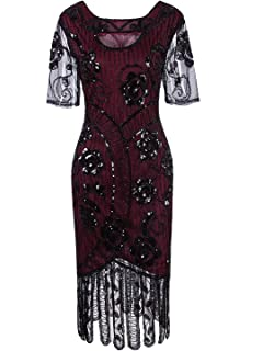 aa56f7bbf35 Vijiv Women Vintage 1920s Dresses Floary Beaded Cocktail Flapper Dress with  Sleeves Gatsby Party