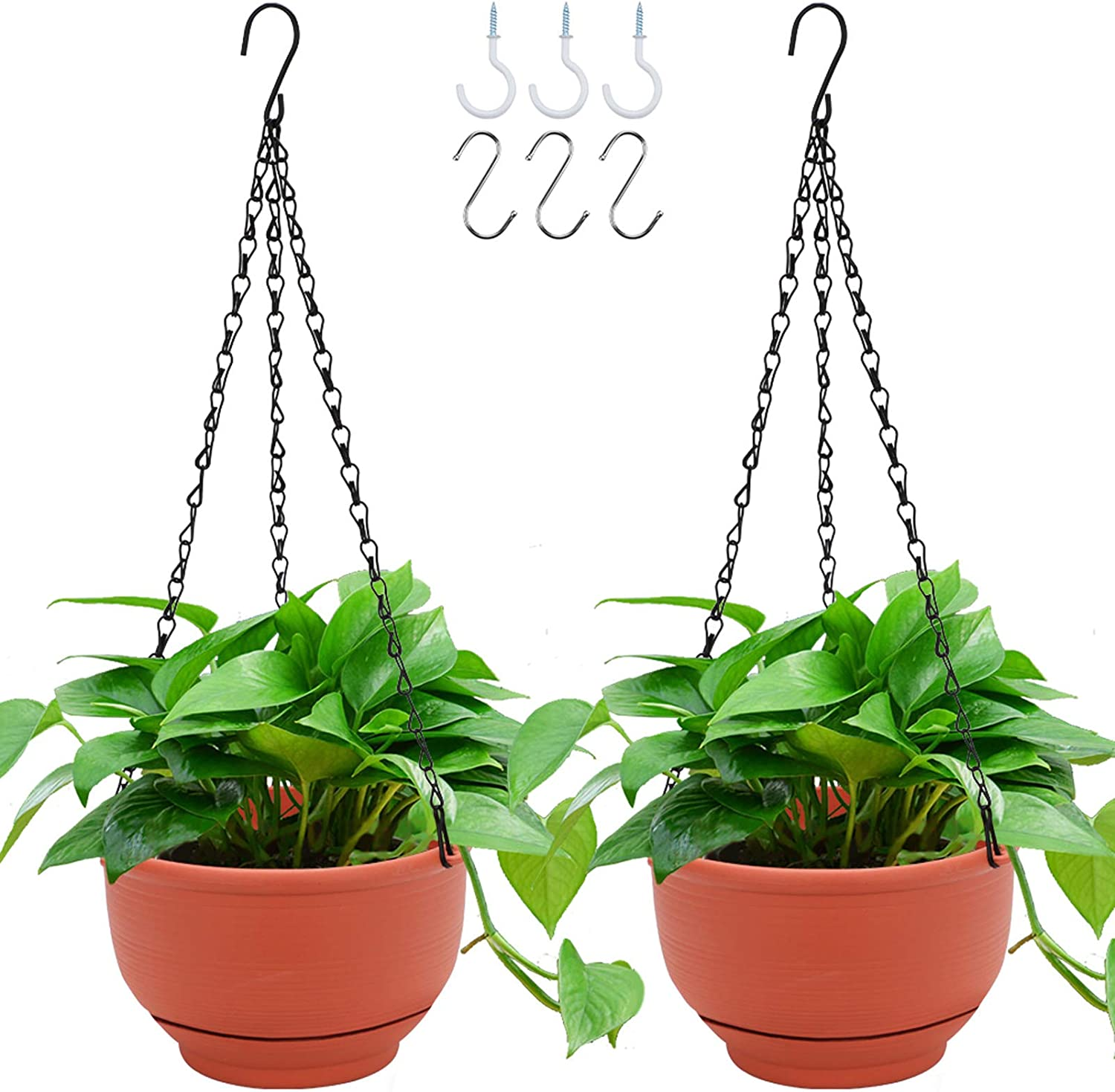 GROWNEER 2 Packs 8 Inches Plastic Hanging Planter Self Watering Basket with 6 Pcs Hooks, Hanging Flower Pot with Detachable Base for Garden Indoor Outdoor Home Decoration (Terracotta Color)