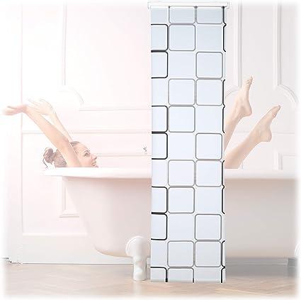 Relaxdays, Semitransparente, 60x240 cm Cortina de Ducha Square, A Cuadros, Soporte de Techo, PVC-Plástico-Aluminio: Amazon.es: Hogar