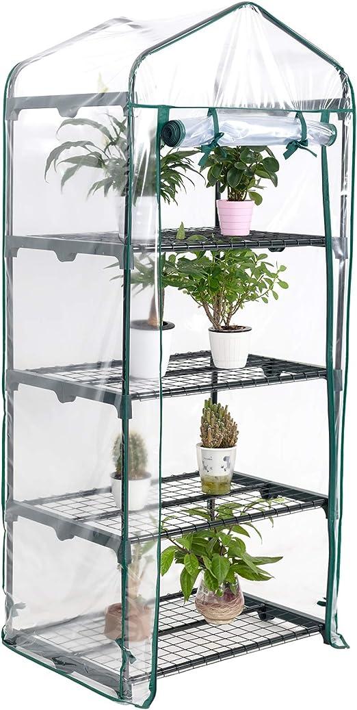Display4top Jardín Invernaderos 68 × 48 × 158 cm, Cubierta transparente de PVC, Las hierbas o flores se pueden cultivar en interiores y exteriores durante todo el año (4 Estantes): Amazon.es: Jardín