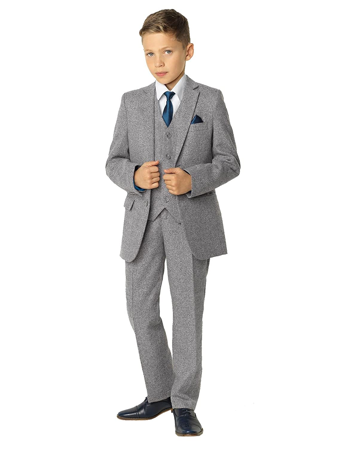Paisley of London, Knox Light Gray Slim Fit Suit, Boys Formal Occasion Wear Set, X-Large -20