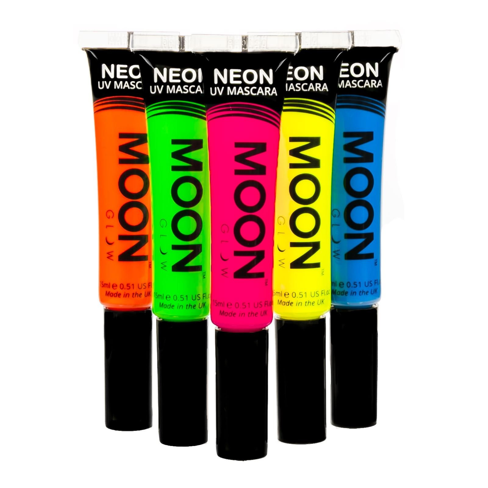 Moon Glow - Blacklight Neon Mascara 0.51oz Set of 5 colors - Glows brightly under Blacklights / UV Lighting! by Moon Glow