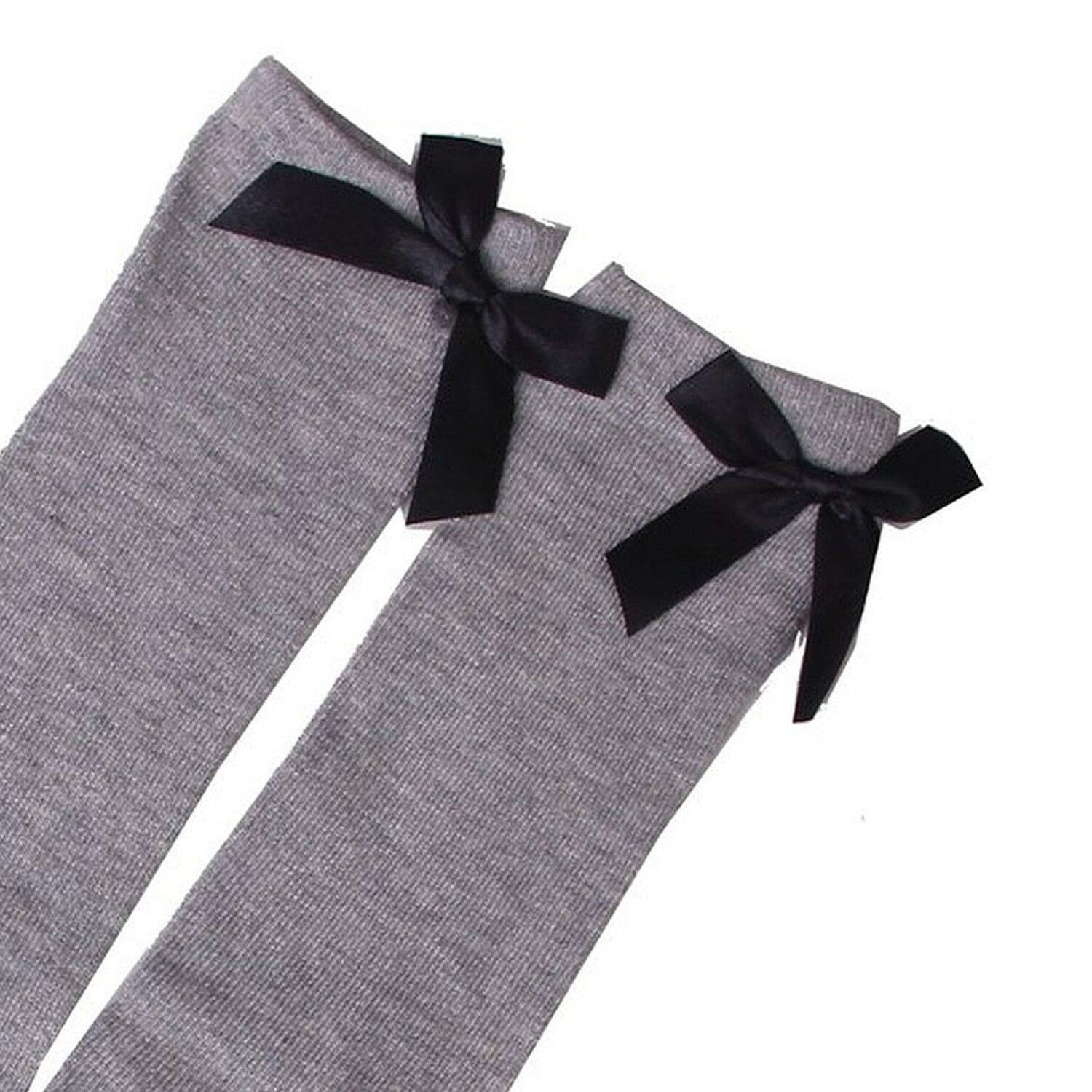 1-6 Years Kids Girls Princess Knee High Socks w// Bowknot Grey lovely bowkno I4F8