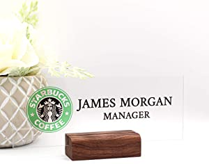 "Personalized nameplate Desk Decor Office Unique Gift Custom Logo tech Desk Custom Wood Name Plate for him and her Occasion Gift (8""x3"")"