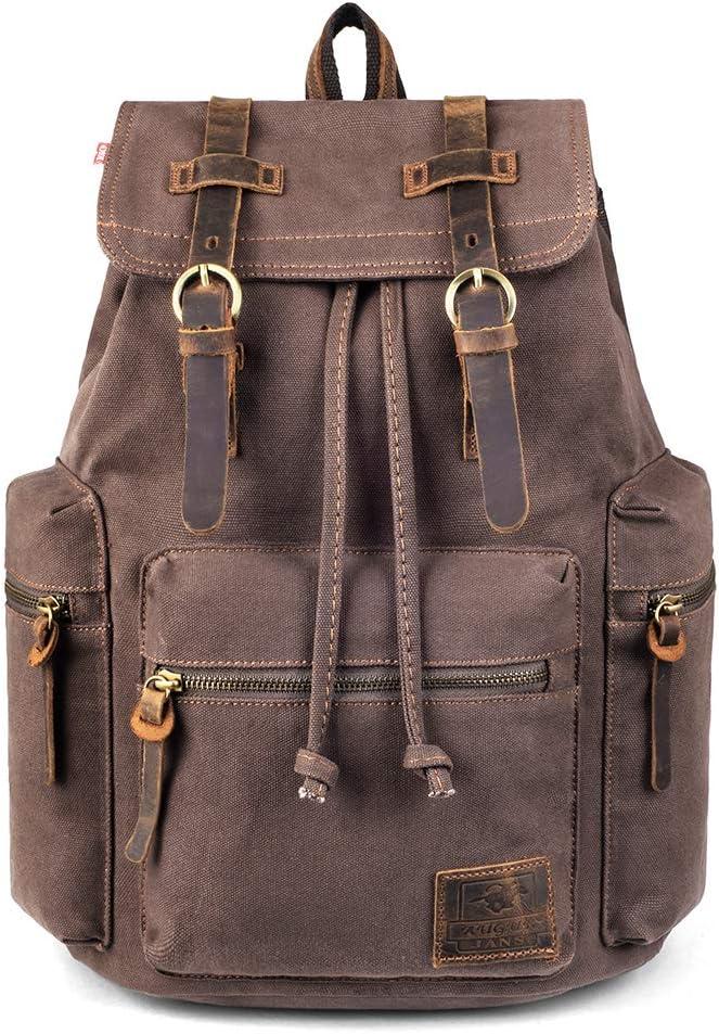 Canvas Vintage Backpack Satchel, PKUVDSL Mens Rucksack for Travel Adventure Bookbag