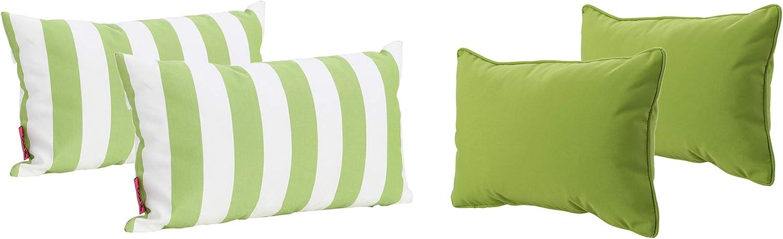 Christopher Knight Home Coronado Outdoor Water Resistant Rectangular Throw Pillows, 4-Pcs Set, Green / White
