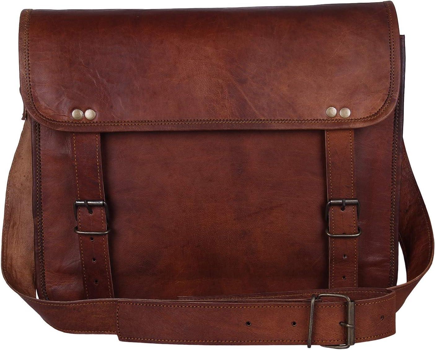 "Rustic Town 15"" Genuine Leather Handmade Crossbody Messenger Satchel Laptop Bag"