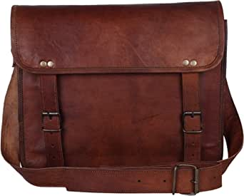 Leather Vintage Rustic Crossbody Messenger Courier Satchel Bag Gift Men Women ~ Business Work Briefcase Carry Laptop Computer Book Handmade Rugged & Distressed ~ Everyday Office College