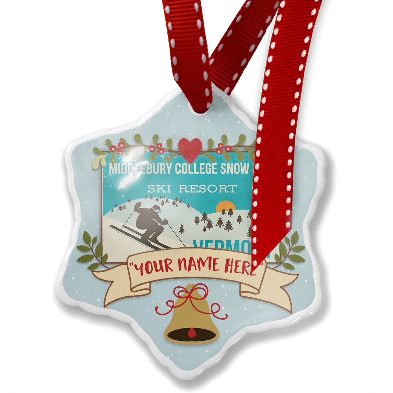 Add Your Own Custom Name, Middlebury College Snow Bow Ski Resort - Vermont Ski Resort Christmas Ornament NEONBLOND