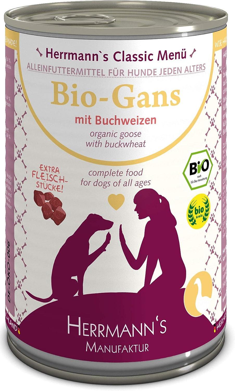 Herrmanns Bio Gans Menu 1 - Comida para Perros con Trigo sarracón, Manzana, Leche de Coco 400 g, 12 Unidades (12 x 400 g)