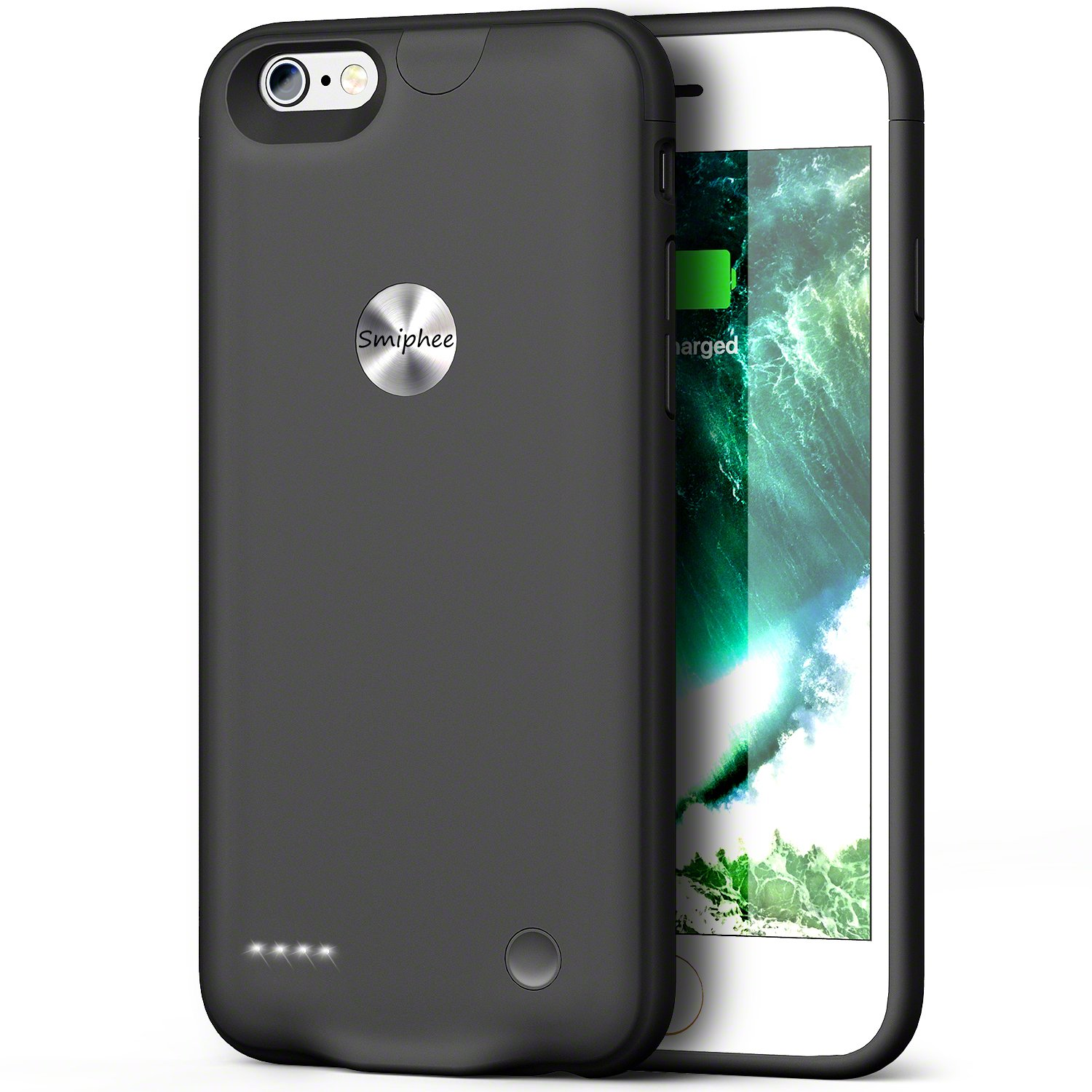 iPhone 6 6s Battery Case,Smiphee 2500mAh Portable Charging Case for iPhone 6 6s(4.7 inch) Extended Battery Charger Case/Lightning Cable Input Mode-(Black) by Smiphee (Image #1)