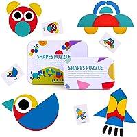 BBLIKE Tangram Madera, 36 Montessori Puzzle de Madera + 60 PCS Diseño Tarjetas de Apilamiento Juegos y Juguetes…