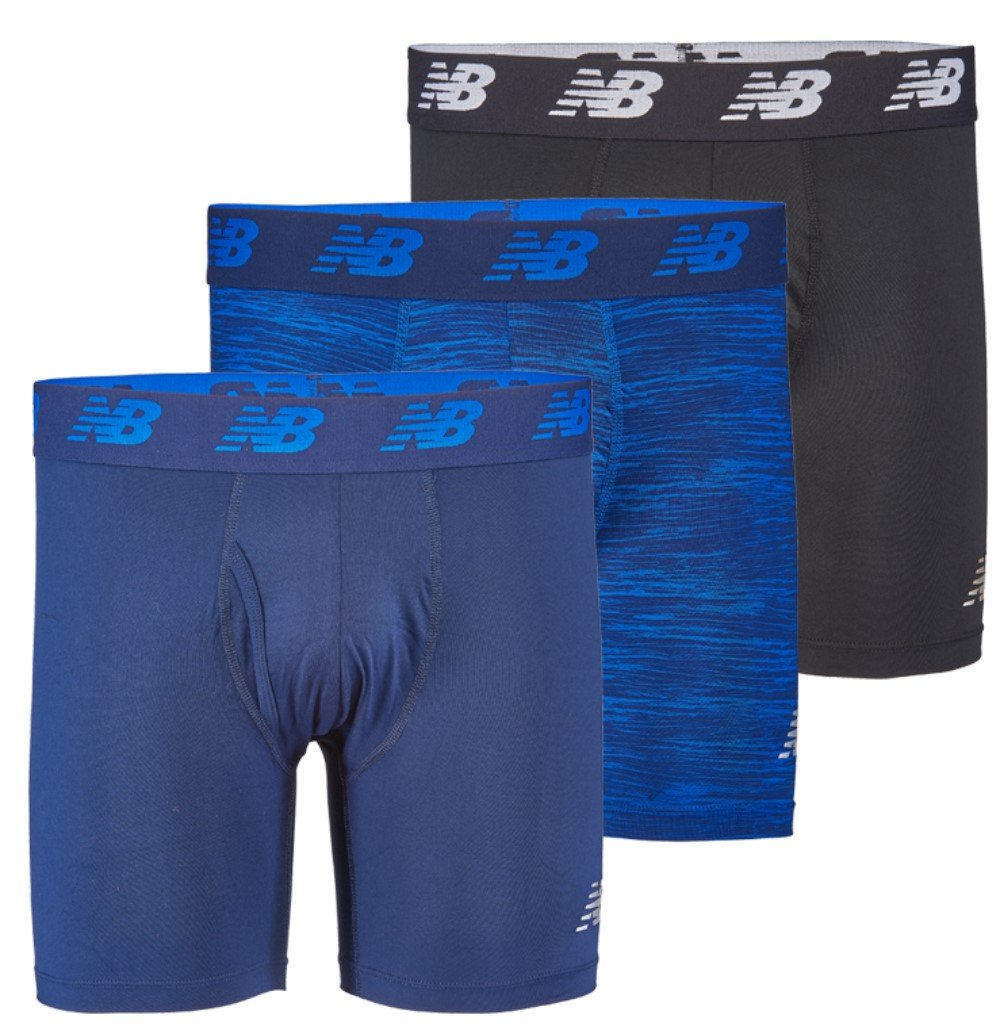 New Balance Men's 6'' Boxer Brief Fly Front with Pouch, 3-Pack, Pigment/Pigment Woodgrain/Black, Medium
