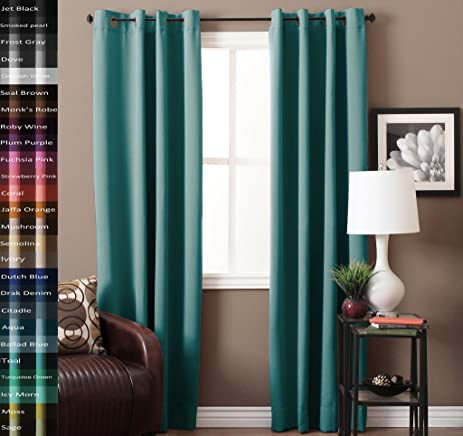 Blackout Aqua Curtains For Bedroom /Living Room 100% Privacy Panel Drapes,  52u0026quot;