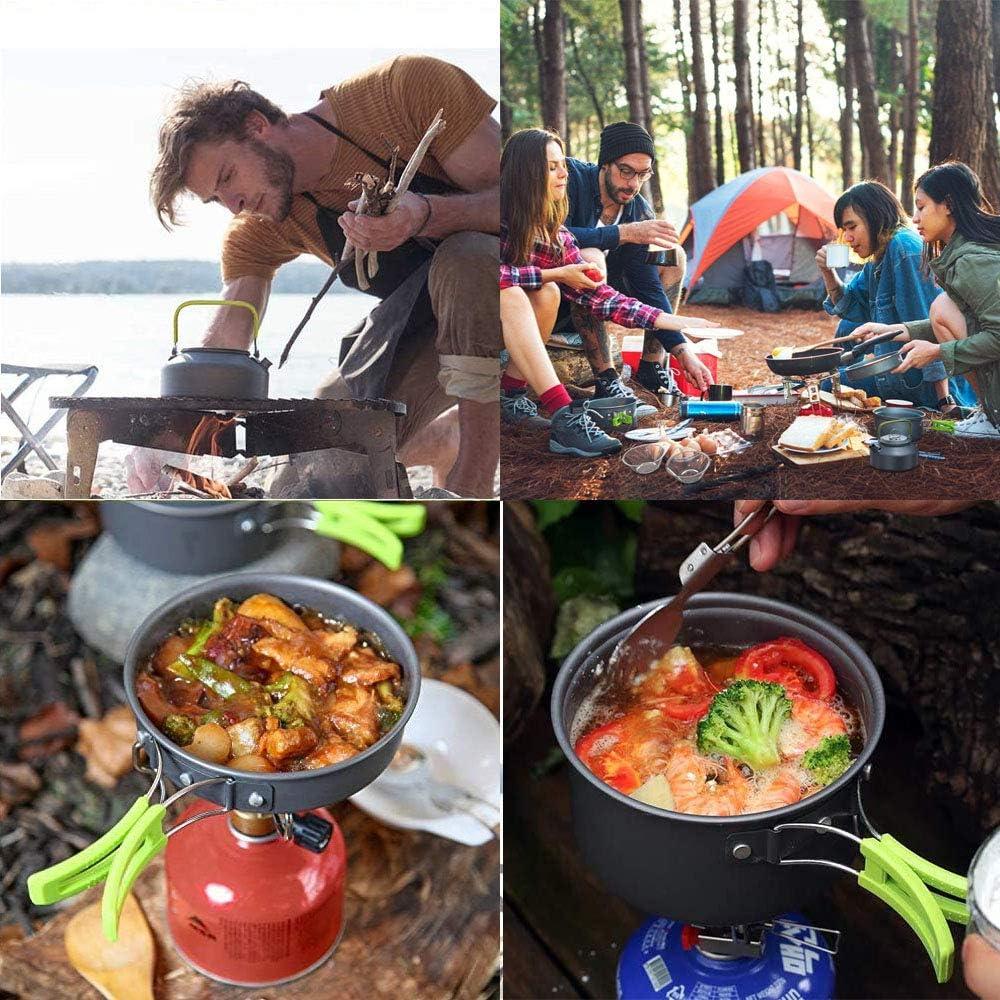 Arrampicata,Trekking Set Pentole da Campeggio,2-3 Persone Set Stoviglie Campeggio,Portatile Ultraleggero 14-in-1 Kit Camping Cookware con Padelle Piatti Ciotole per Cucina per Barbecue,Campeggio