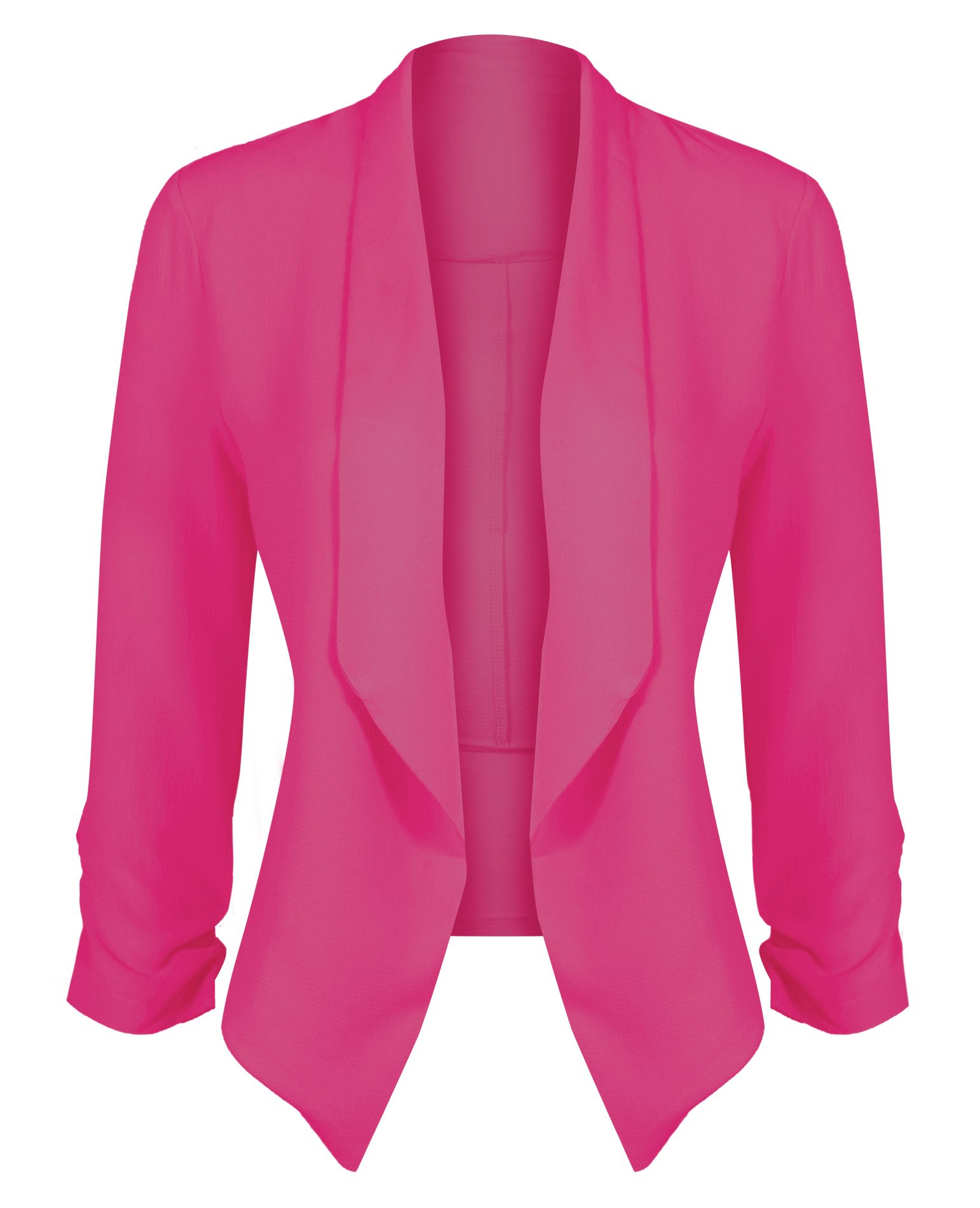HOT FROM HOLLYWOOD Women's Classic Stretchy Cardigan Blazer with Curved Hemline and Shirring 3/4 Sleeves